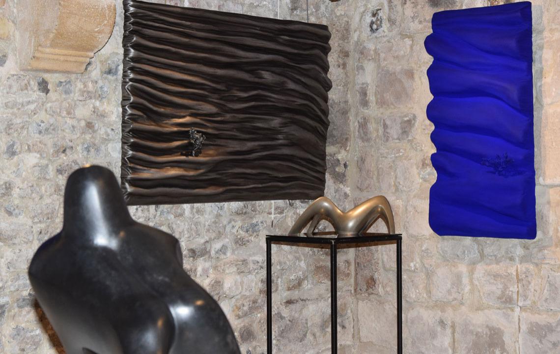 Did Morères tableau sculpture bleu klein galerie artiane honfleur normandie