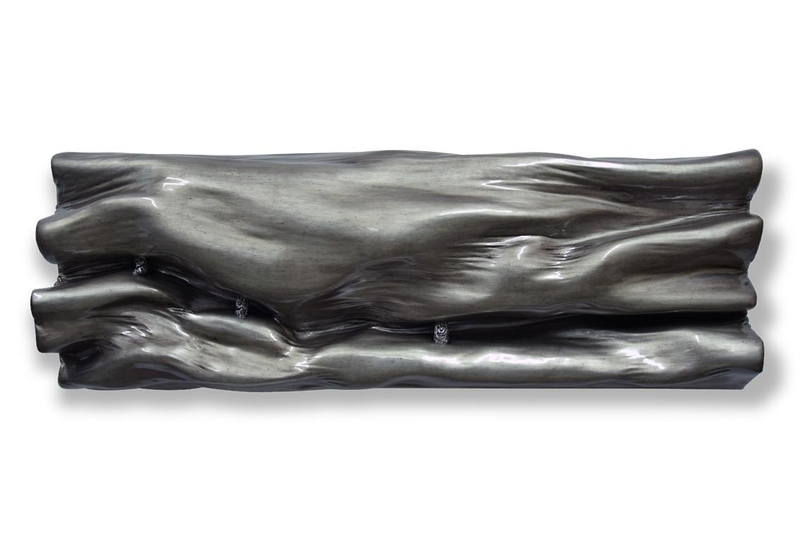 métal métalique argent brillant monochrome matière vague oeuvre art did moreres artiste