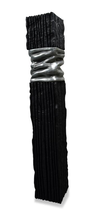sculpture bois brulé tree black zinc totem artwork artist