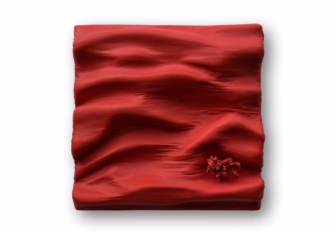 tableau sculpture pigments rouges poudré, profondeur mat art création monochrome