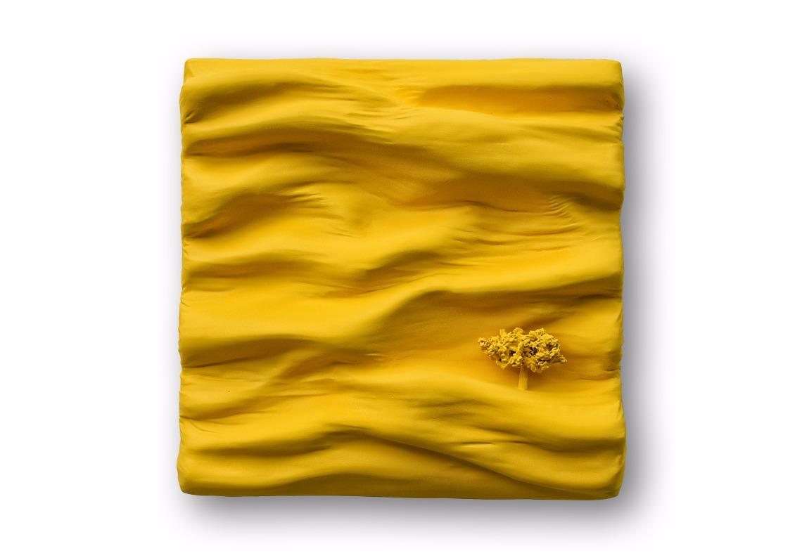 mochrome pigment jaune sun soleil tableau contemporain par Did Morères