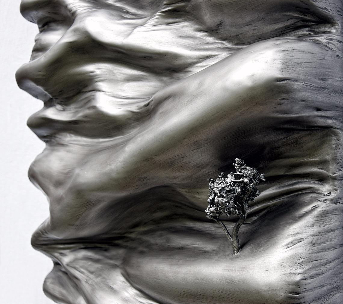 tableau contemporain design monochrome effet métal par l'artiste Did Morères Corrèze