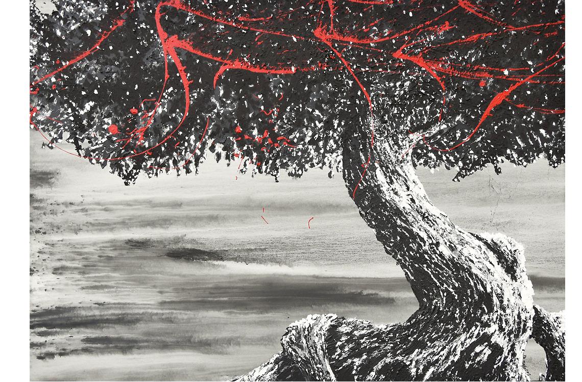 tree art street art arbre bois forêt didmoreres galerie tableau galerie artiste acrylique noir matière