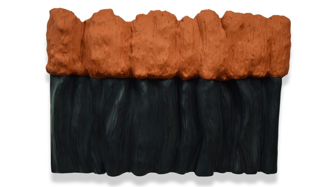 black bobo orange pigment tableau art monochrome